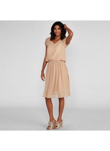 Vekem-Limited Edition V Yaka Belden Büzgülü Şifon Elbise Bej